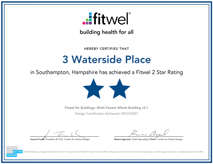 Element Four helped RO Real Estate to achieve Fitwel 2 Star Rating for 3 Waterside Place, Southampton
